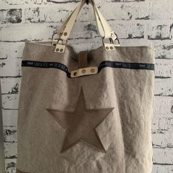 Cabas taupe Big Bag Star